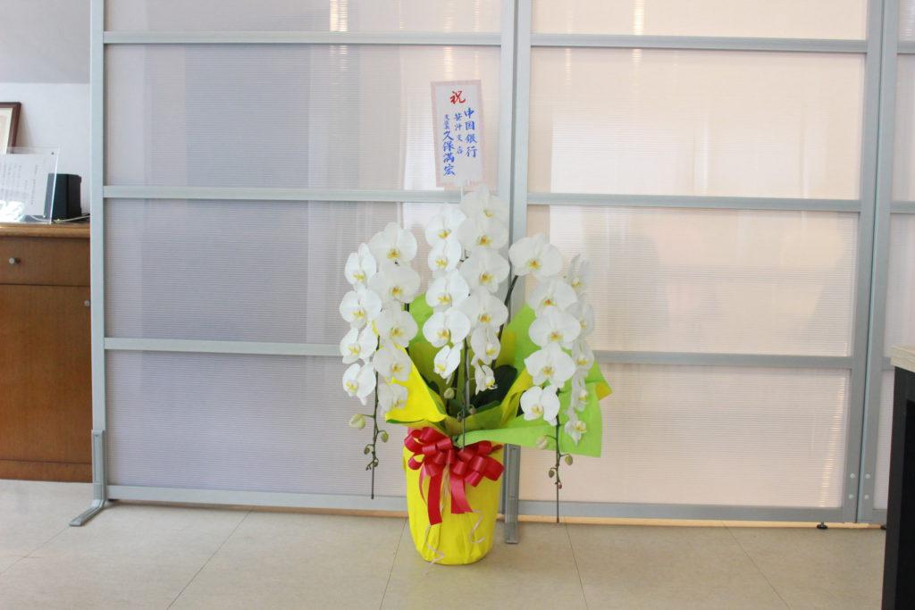 中国銀行様よりお花をいただきました。
